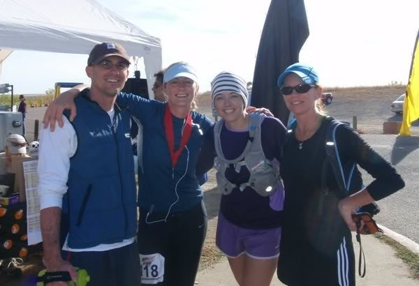 At the finish line, Justin & Kristel Liddle, me & Ryan Rowley.
