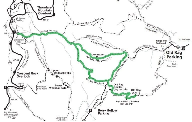 Map courtesy of Shenandoah National Park, with my route highlighted in green.