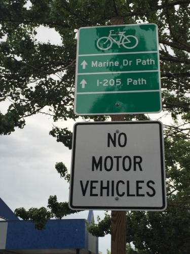 Signs like this mark the way to the I-205 path.