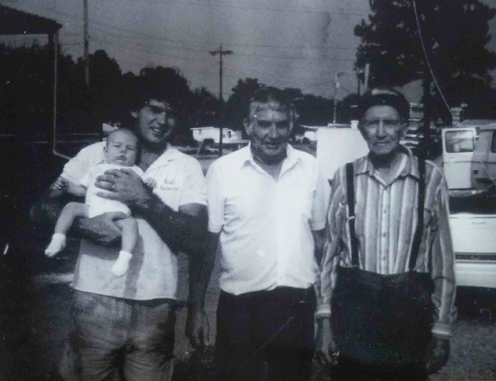 FOUR GENERATIONS OF LANNING'S CELEBRATING 10 YEARS IN BUSINESS, 1989  LEFT : RICK LANNING HOLDING HIS SON, TY LANNING -- MIDDLE : GEORGE LANNING -- RIGHT : MARVIN LANNING
