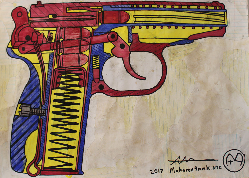 Alfredo Martinez | Makarov 9mmk | Mixed Media | 23x29"