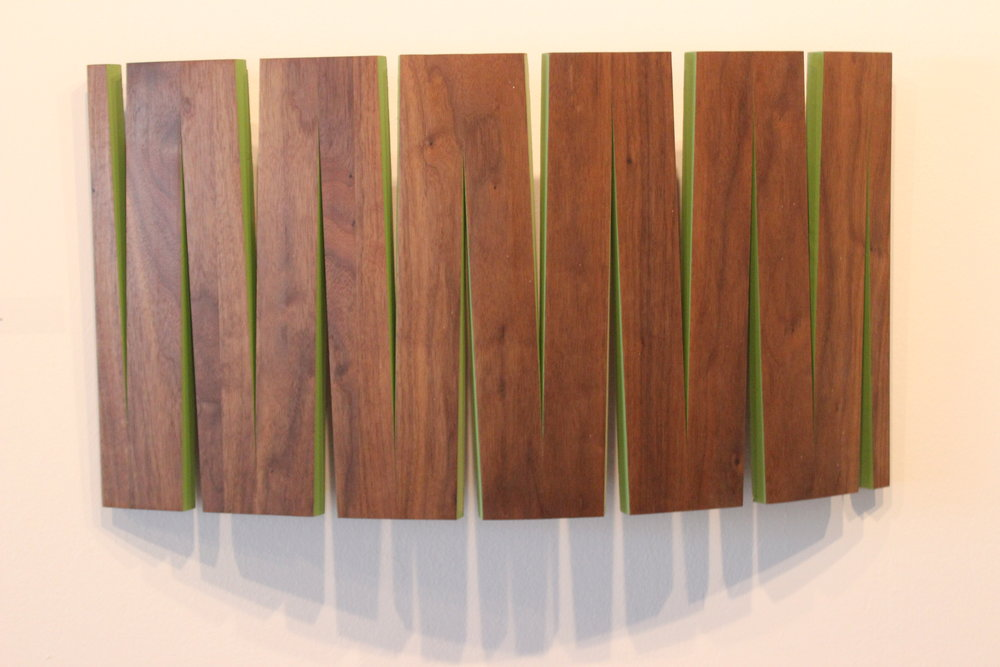 Jamie Johnston | Green Walter | Acrylic on Walnut | 12x24"