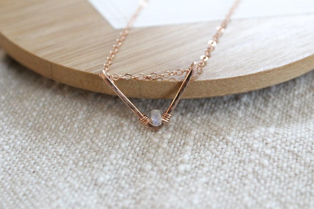 Hammered V Necklace - $50
