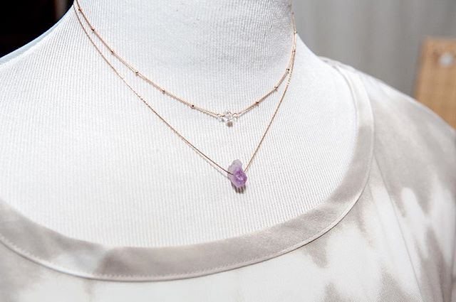 These two necklaces are kind of the perfect pair don't ya think?? ✨ Herkimer diamond necklace available now in the shop and the amethyst necklace will be getting added tonight!  Send me a DM if you just can't wait till then to order 😉 - 📸: @okiedokiestudio