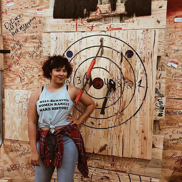 @myworldofneverland: Picture one is me acting badass, and picture two is me realizing I THREW A FREAKING AX AT A WALL AND MADE IT! I'm not packing pepper spray, I'm packing a hatchet! • • • • #RaiderAxeLodge #RAL #repost #Strength #Ax #Axe #AxeThrowing #StrongWoman #Dangerous #DangerousWoman #AxeQueen #Queen #Power #LauraCroftWho #Badass #GirlPower #Blogger #StuffToDoInTampa #TampaBlogger