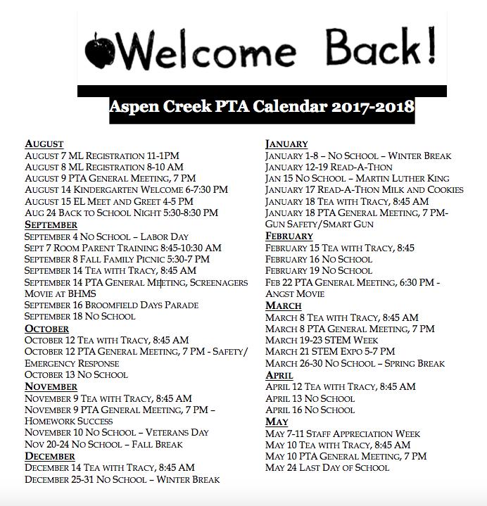 pta calendar