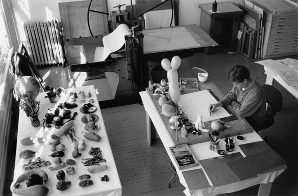 Donald Baechler working on a series of color aquatints, 1999.