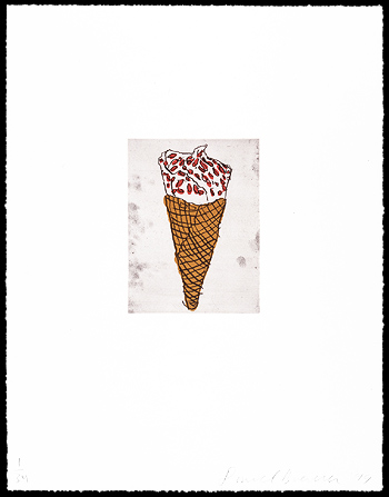 Ice Cream Cone, 1999. Soft-ground etching and aquatint. Plate size: 8 x 6 in. Sheet size: 22 x 17 in. Edition of 34. Paper: Magnani Pescia. Plates processed and printed by Felix Harlan, Carol Weaver and Maggie Wright, New York.