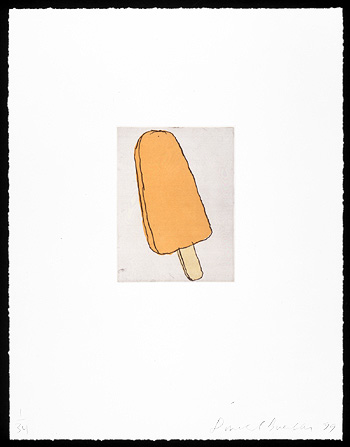 Creamsicle, 1999. Soft-ground etching and aquatint. Plate size: 8 x 6 in. Sheet size: 22 x 17 in.  Edition of 34. Paper: Magnani Pescia. Plates processed and printed by Felix Harlan, Carol Weaver and Maggie Wright, New York.
