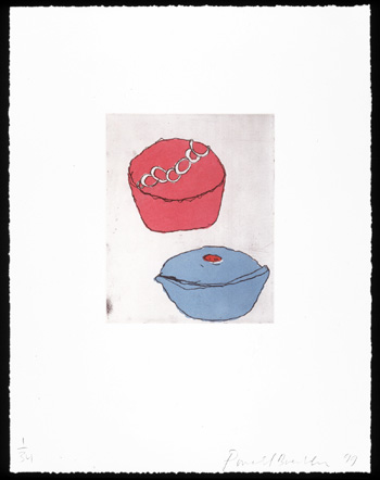 Red + Blue Cup Cakes, 1999. Soft-ground etching and aquatint. Plate size: 10 x 8 in. Sheet size: 22 x 17 in. Edition of 34. Paper: Magnani Pescia. Plates processed and printed by Felix Harlan, Carol Weaver and Maggie Wright, New York.