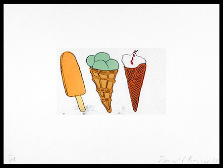 Creamsicle + 2 Cones, 1999. Soft-ground etching and aquatint. Plate size: 9 x 15 in. Sheet size: 22 x 30 in. Edition of 34. Paper: Magnani Pescia. Plates processed and printed by Felix Harlan, Carol Weaver and Maggie Wright, New York.