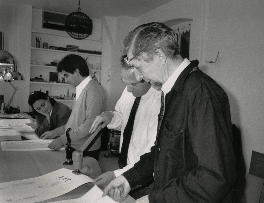 Elise Boisante, Mark Baron, with Not Vital and Piero Crommelynck, working on El Maktoub Maktoub.