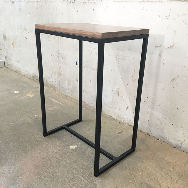 Pair of side tables Walnut and steel
