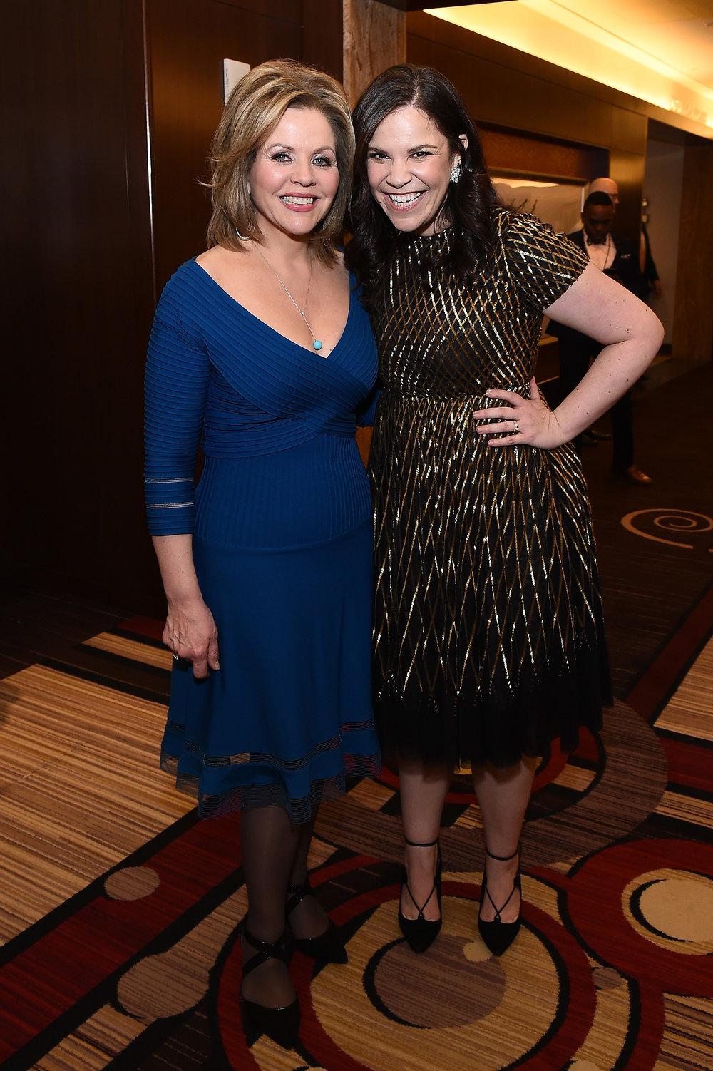 Reneé Fleming and Lindsay Mendez at the 2018 Tony Award Nominees Press Junket by Ilya S. Savenok.jpeg