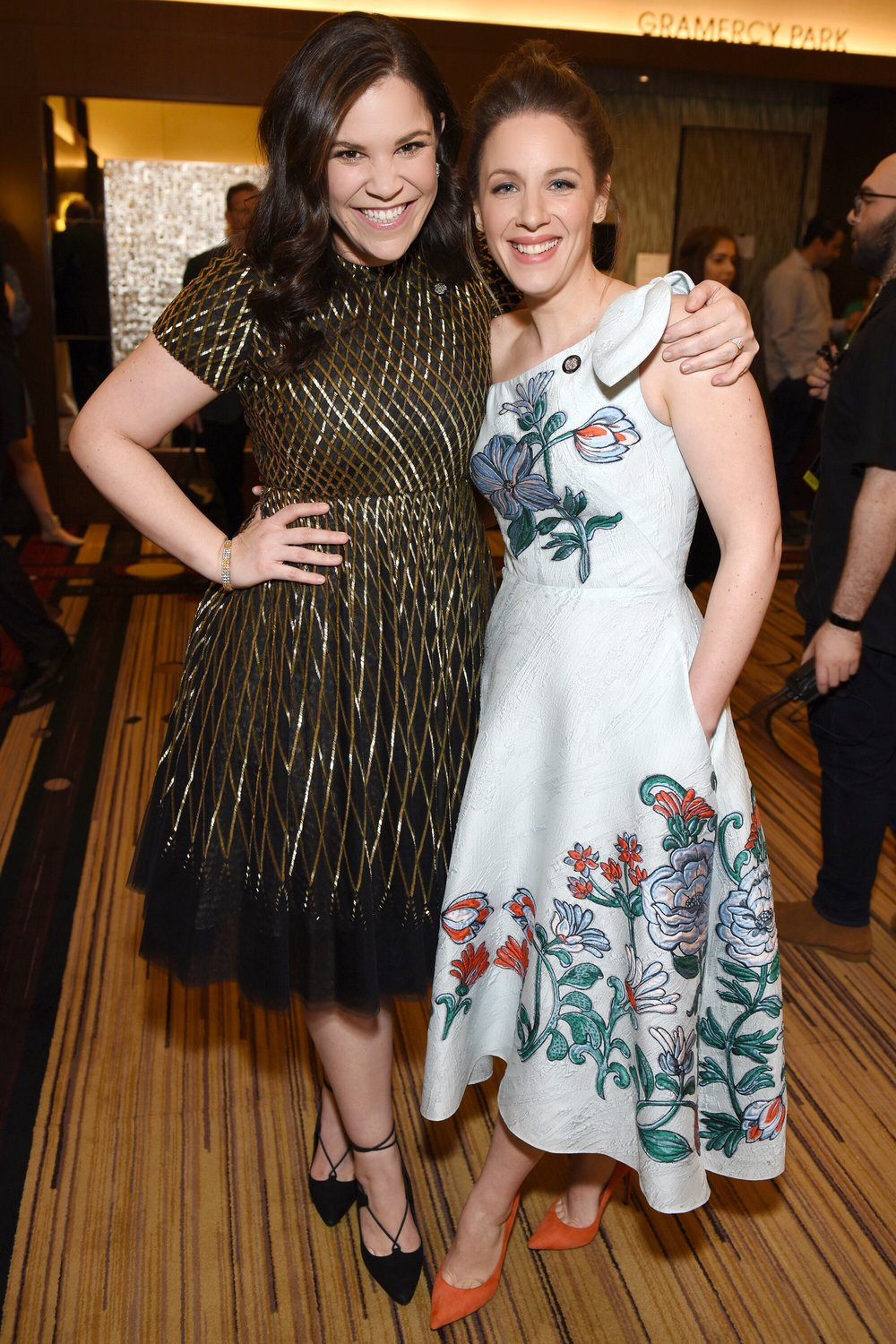 Lindsay Mendez and Jessie Mueller at the 2018 Tony Award Nominees Press Junket by Jenny Anderson.jpg
