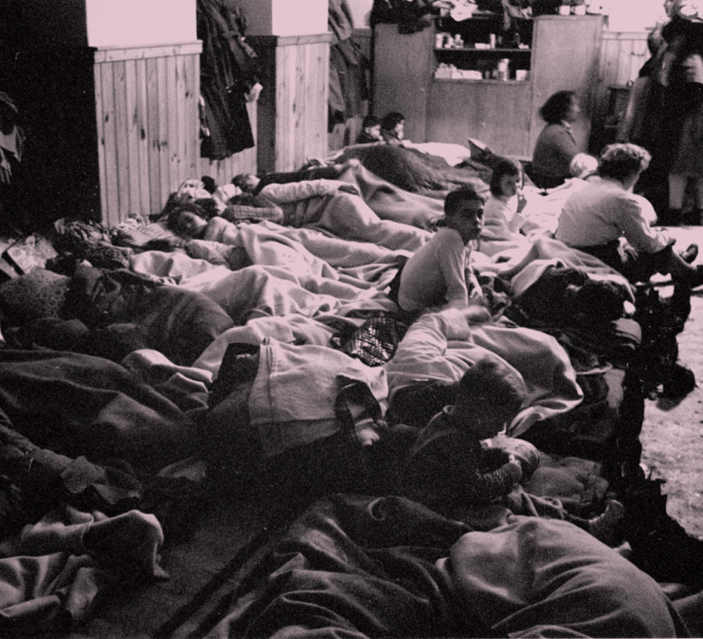 In the Elementary School of Andau (Austria), Hungarian Refugees are getting temporary night quarters, November 1956. -