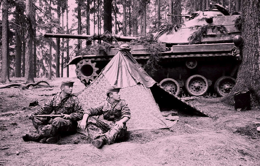 Recruits from Austrian Army deployed a few miles at a safe and non-provocative distance from Czechoslovak border in late August 1968; after the deployment on the Hungarian border, this is the second time in a Cold War crisis the Austrian Army was guarding the border.