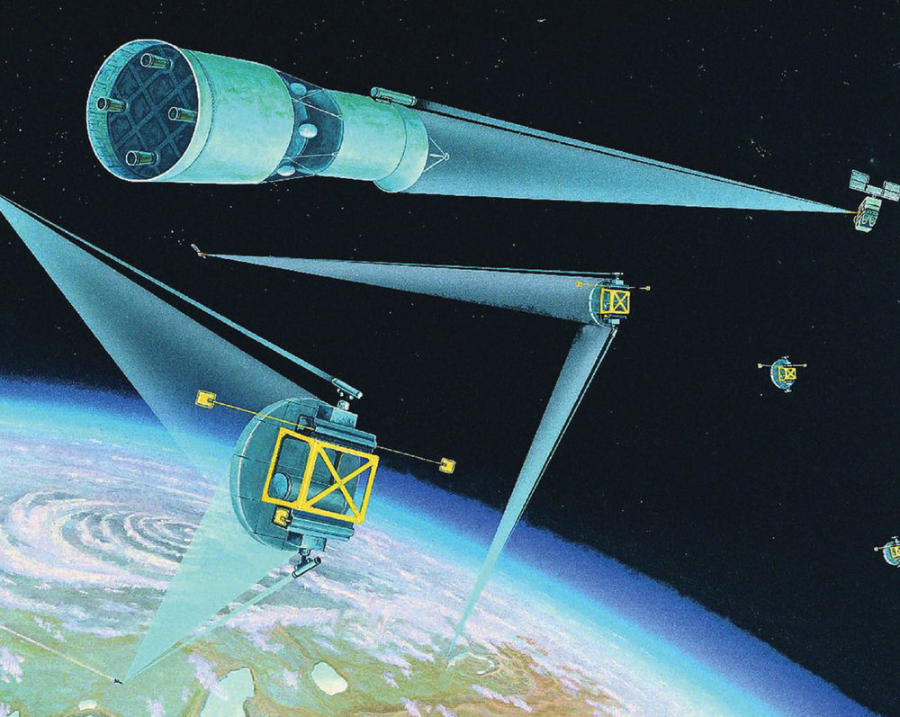 An artist's concept of a Space Laser Satellite Defense System, 1984. (Not any one system specifically, just generalized concept artwork). -