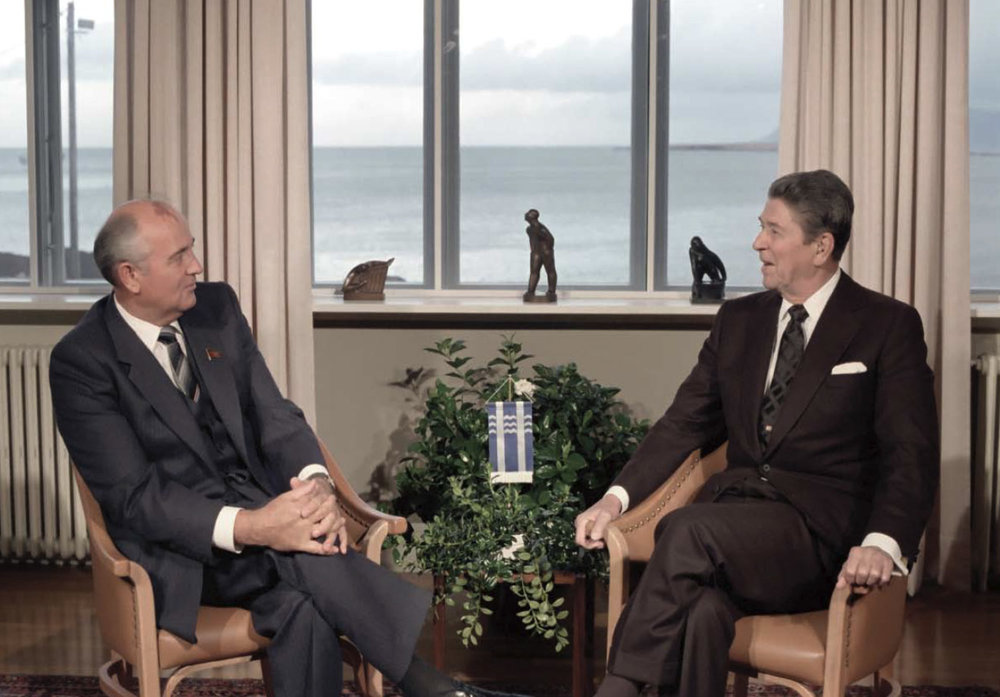President Reagan meeting with Soviet General Secretary Gorbachev at Hofdi House during the Reykjavik Summit in Iceland on October  11, 1986.