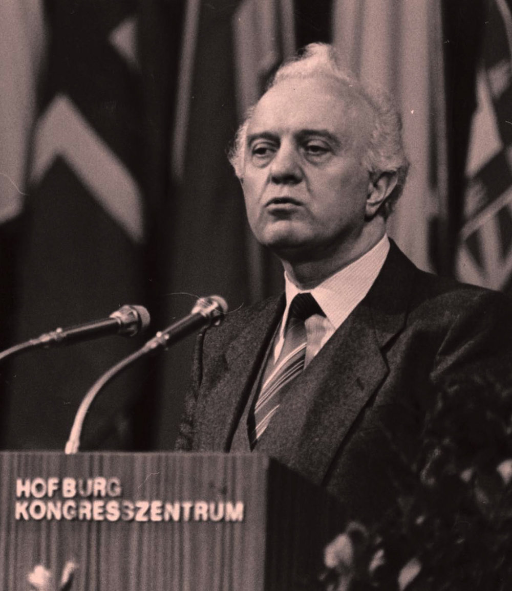 Eduard Shevardnadze during a follow up meeting of the Conference of Security and Cooperation in Vienna in 1986.