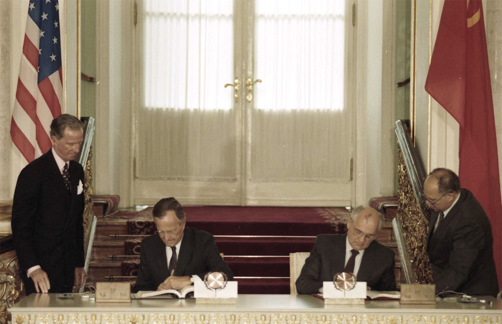 President Bush and Soviet President Gorbachev sign the Strategic Arms Reduation Treaty (START), in the Kremlin on July 31, 1991. This  is the culmination of a remarkable series of nuclear and convention arms reduction treaties starting with the INF-Treaty of 1987.
