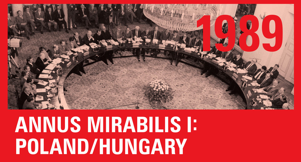 TOP IMAGE: During the spring of 1989 the old Communist Party leadership met representatives of Solidarity and the Catholic Church in the Polish round table to negotiate the June election modus.