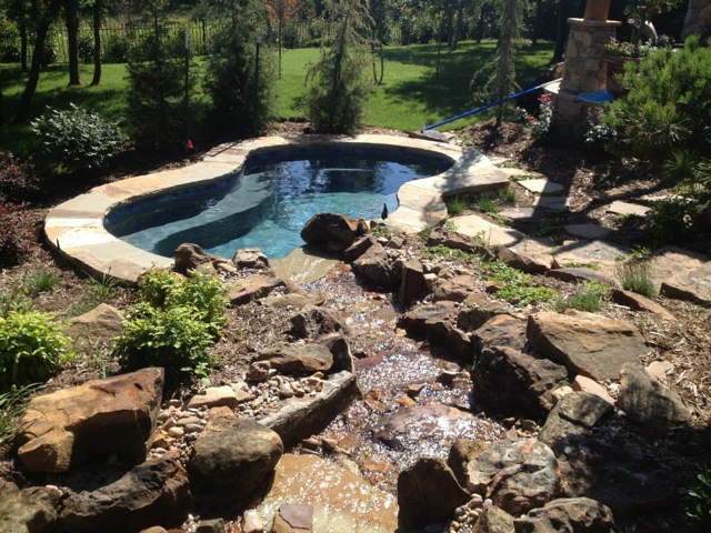 Landscape • Water Feature Cascading into Spa