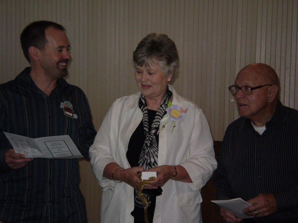 Danny, Becky and Gene at the Women's Fellowship luncheon honoring Becky in July, 2011