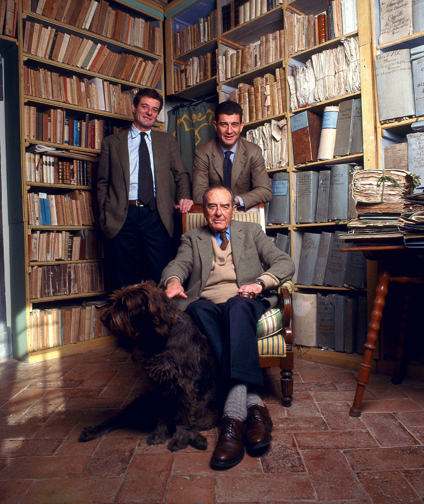 In the family archives: Filippo and Francesco with their father, Lapo Mazzei Courtesy Castello di Fonterutoli