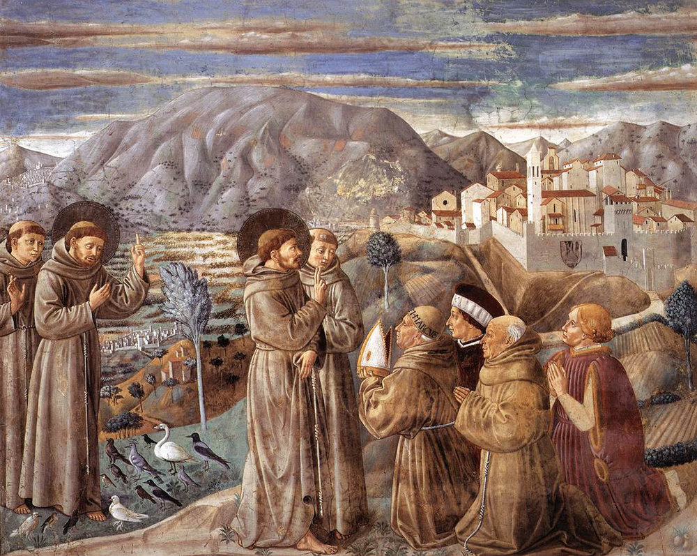 St. Francis preaching to the birds, and blessing residents of Montefalco, pictured behind. From Benozzo Gozzoli's fresco cycle in the church of San Francesco.