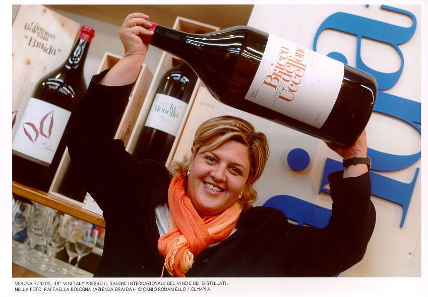 Giacomo Bologna's daughter, with their pioneering Bricco dell'Uccellone Barbera d'Asti. Courtesy Braida