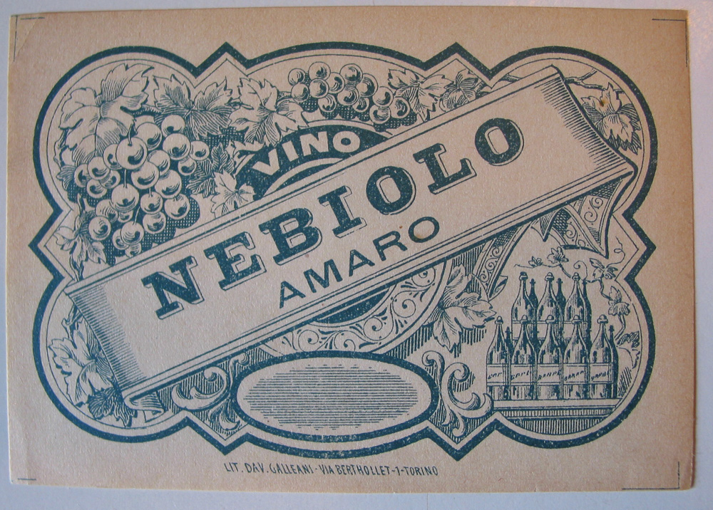 "A label for ""Bitter"" ( amaro ) Barolo, before naming conventions were standardized."