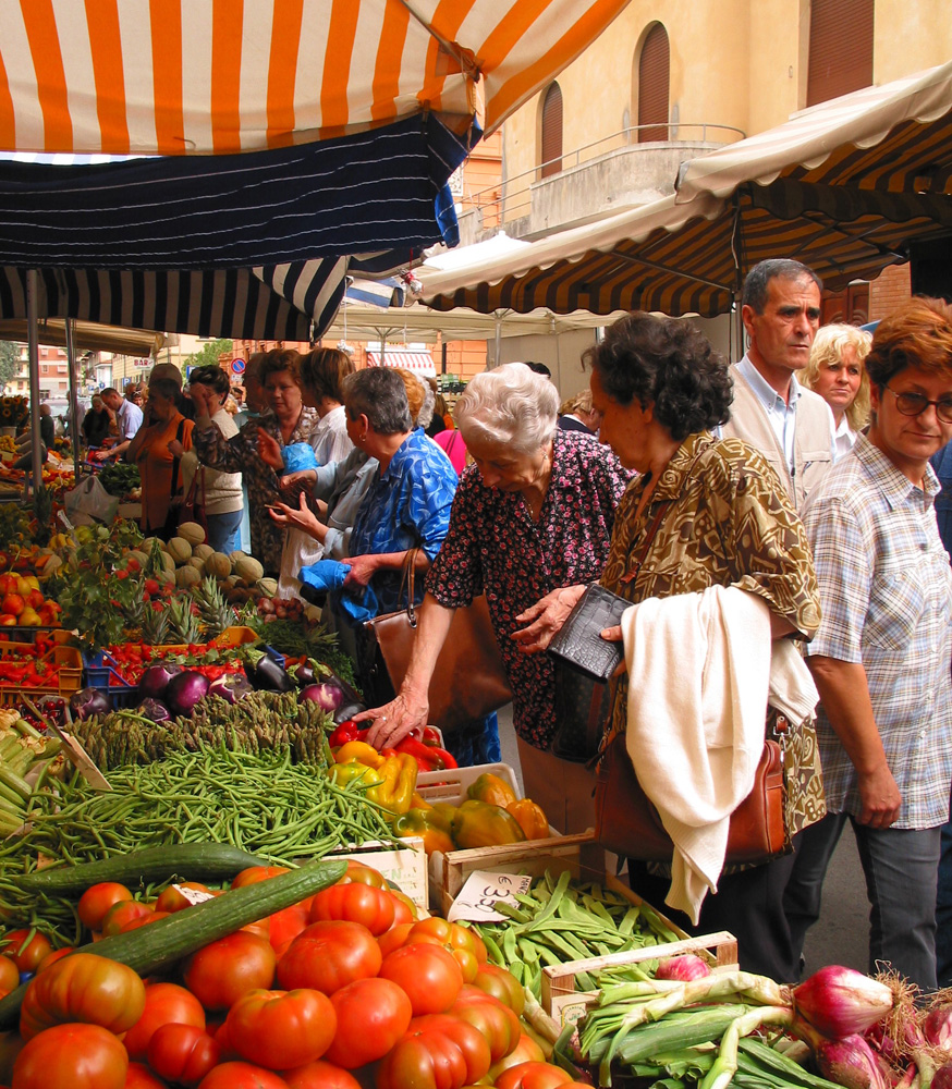 Shopping for ingredients at the Montevarchi market