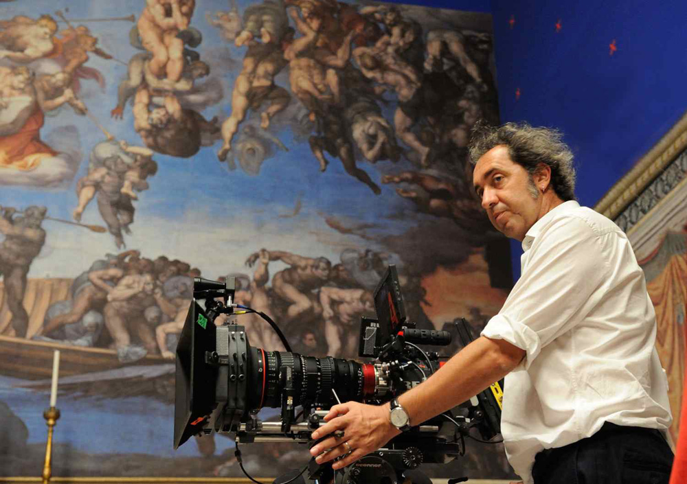 Sorrentino in the full-scale replica of the Sistine Chapel, with the production's Red Epic Dragon.