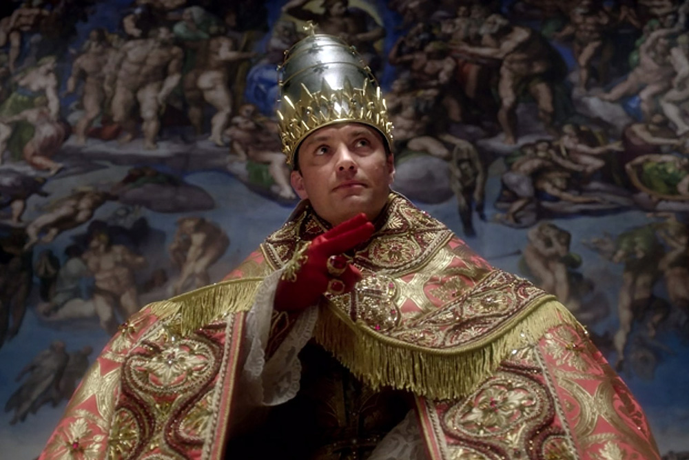 Jude Law in full papal regalia