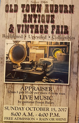 Antique Fair this Weekend! - Please join us this Sunday, October 15th for Old Town Auburn's 51st Annual Antique Fair!  90+ vendors, live music, food, and great weather all in the heart of Old Town!  We even have an Antique Appraiser who will appraise your items for $5 each (6 item limit). MARQUIS ETC. will be having a 20% OFF STOREWIDE Sale Friday thru Monday.  Come out and enjoy the festivities!