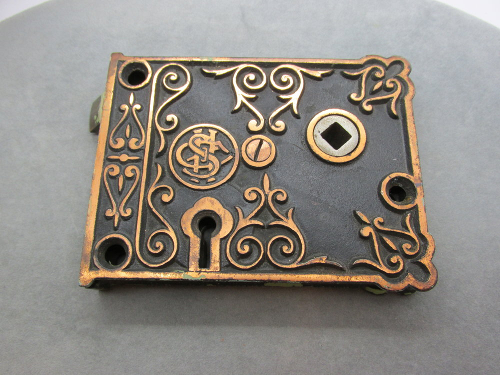- Beautiful, ornate, antique,Victorian, Eastlake, Door Rim Lock. This antique beauty is very ornate and made by the Shapleigh Hardware Co. It has their emblem on the front. It measures approx. 4.25 by 3.25 inches and is 5/8ths of an inch thick. Available this week in my ebay store. Click here to view.