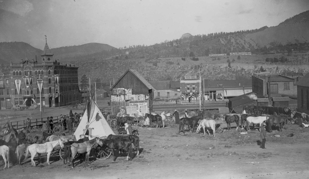 Iconic 1890's scene of downtown Durango where the Utes would trade and camp. Note the Strater Hotel on the far upper left.   Courtesy, La Plata County Historical Society