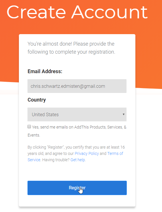 creating an account using addthis.com for your social sharing icons is very easy. Just sign up with your email!