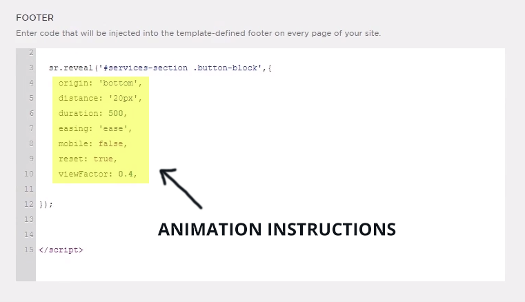 scroll reveal Footer Injection Code Animation Instructions