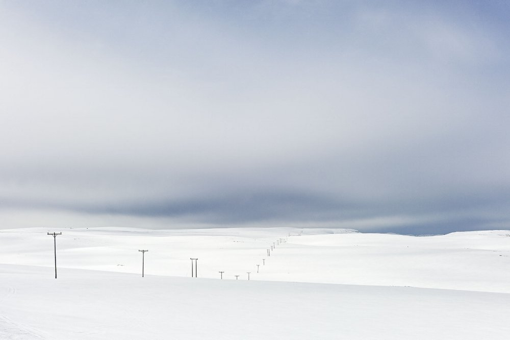 Power Lines in Snow, Close to North Cape, Norway, Spring, 2014
