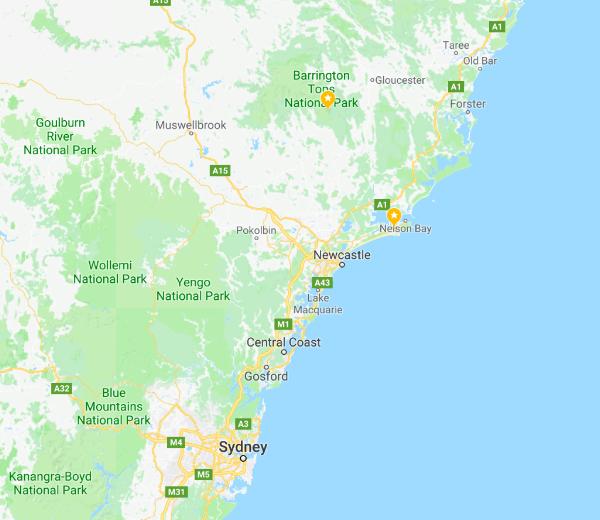 Map of Hunter Valley, Australia and Anna Bay, Australia