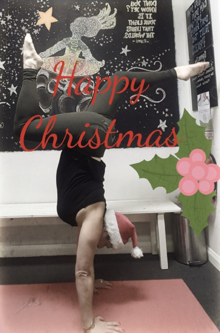 Turn your day upside down with a holiday handstand!