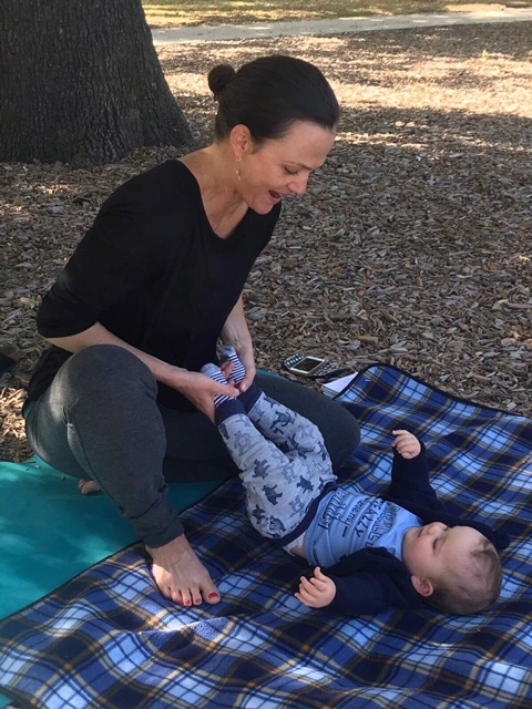 Lucy and Finley enjoying some yoga in the park.