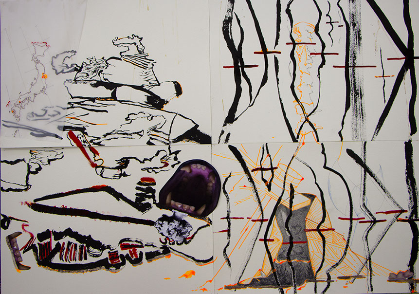 Ink, paint, pencil, tracing paper, water colour paper, photography (84cm W x 59.5 W)
