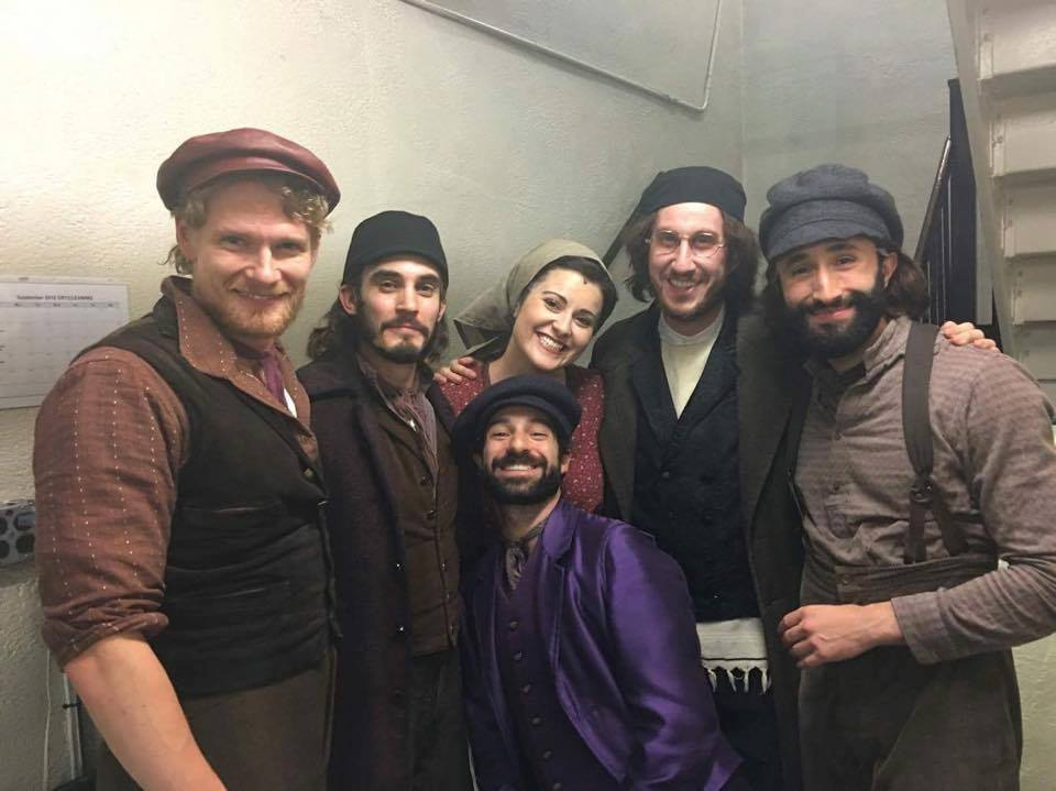 Students in the cast of FIDDLER ON THE ROOF on Broadway: (L to R)  Aaron Young ,  Reed Luplau ,  Jesse Kovarsky ,  Tess Primack ,  Matt Moisey , and  Brandt Martinez