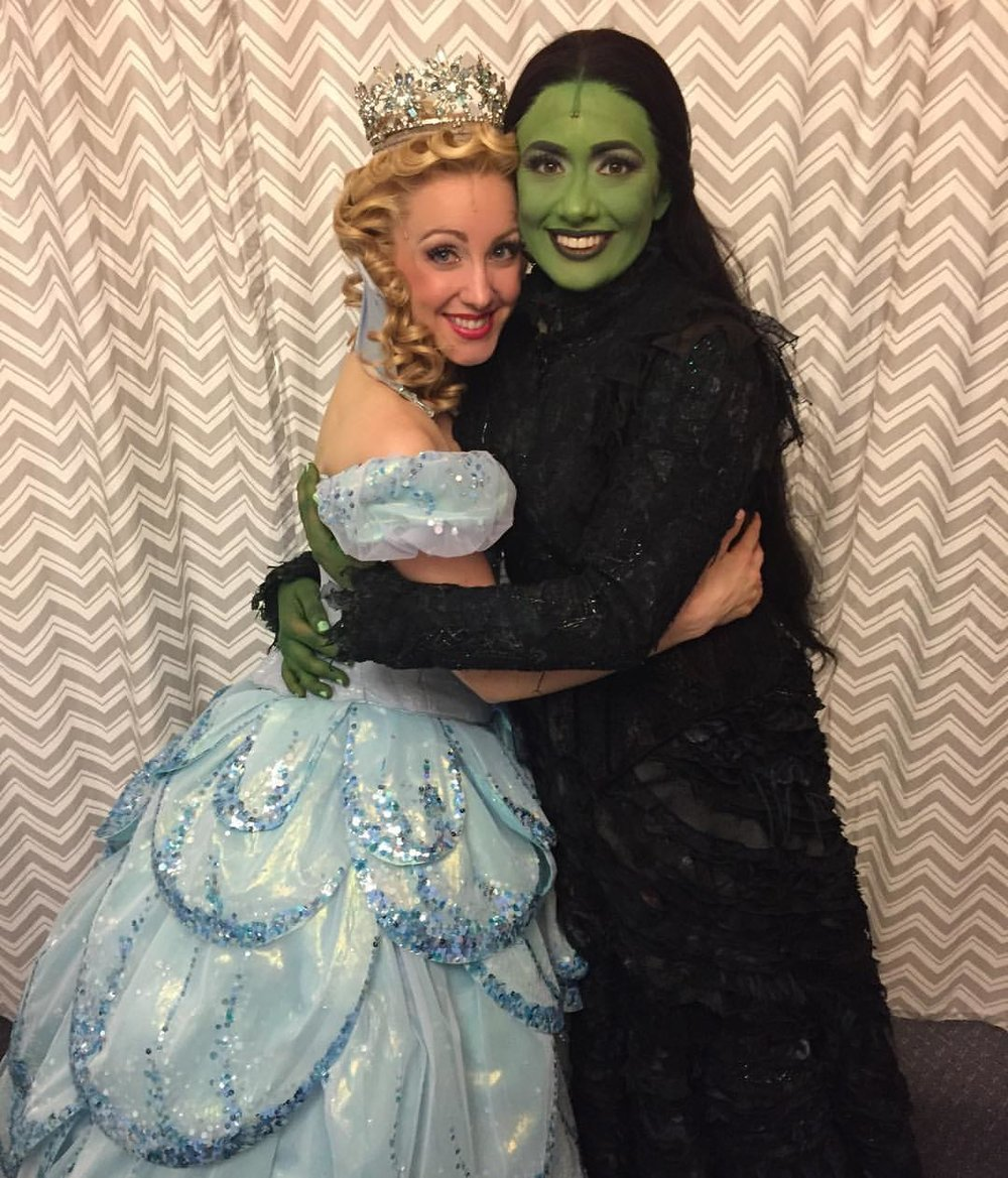 Students  Libby Servais  (Glinda) and  Mariand Torres  (Elphaba) backstage at the Gershwin
