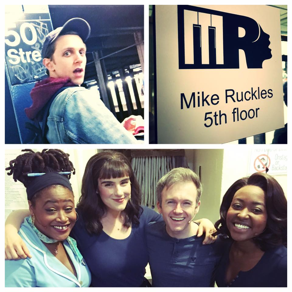 Students in Broadway's WAITRESS: (L to R)  Charity Angel Dawson  (Becky),  Molly Hager,   Jeremy Morse , and  Aisha Jackson . Above,  Henry Gottfried  is caught off-guard at 50th St.