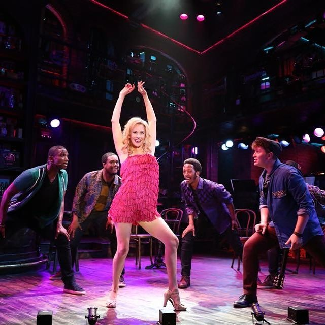 Emma Degerstedt  teaches the boys of SMOKEY JOE'S CAFE how to shimmy