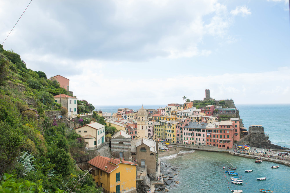 Hiking in the mountains of Vernazza on the coast of Italy.